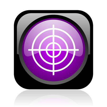 target black and violet square web glossy icon Stock Photo - 19037950
