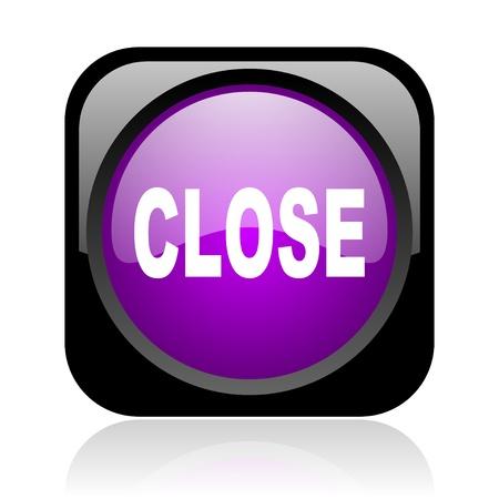 close black and violet square web glossy icon  photo