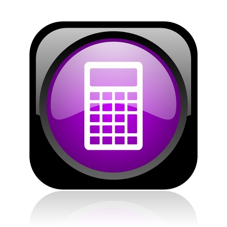 calculator black and violet square web glossy icon  photo