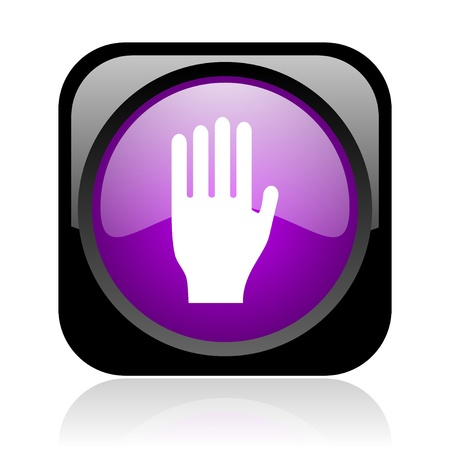 stop black and violet square web glossy icon Stock Photo - 19037360