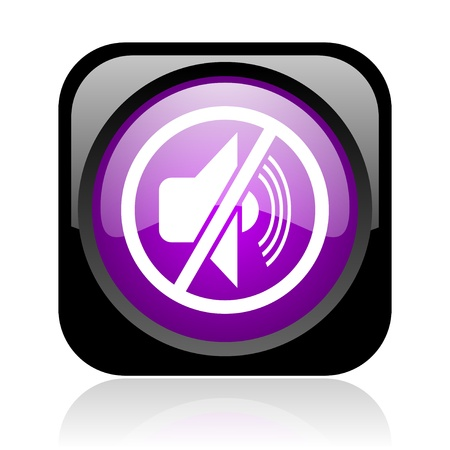mute black and violet square web glossy icon  photo