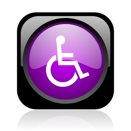 accessibilit�: accessibilit� nero e viola web quadrato lucido icona