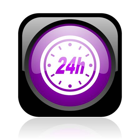 24h black and violet square web glossy icon Stock Photo - 19037929