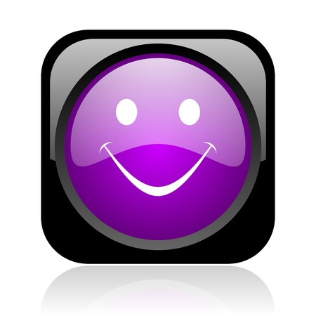 smile black and violet square web glossy icon Stock Photo - 19037636