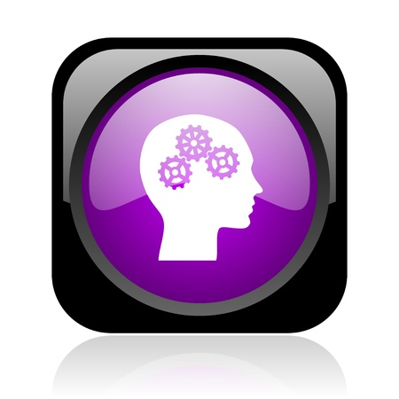 head black and violet square web glossy icon  photo