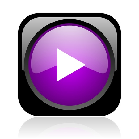 play black and violet square web glossy icon Stock Photo - 19037343