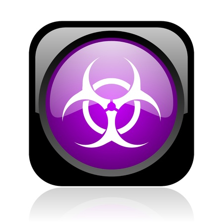 virus black and violet square web glossy icon Stock Photo - 19037898
