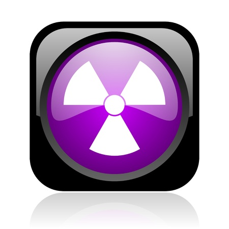 radiation black and violet square web glossy icon Stock Photo - 19037406