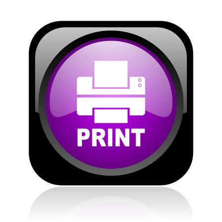 print black and violet square web glossy icon  photo