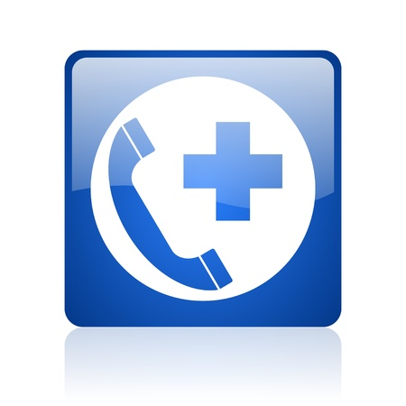 emergency call blue square web glossy icon   photo