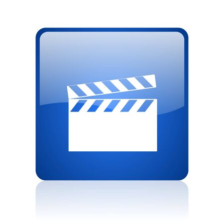 movie blue square web glossy icon  photo