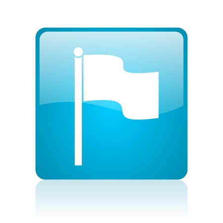 flag blue square web glossy icon Stock Photo - 19148648