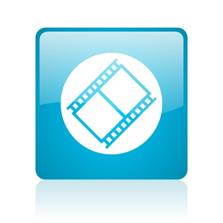 film blue square web glossy icon  photo
