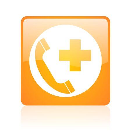 emergency call orange square web glossy icon Stock Photo - 19148653