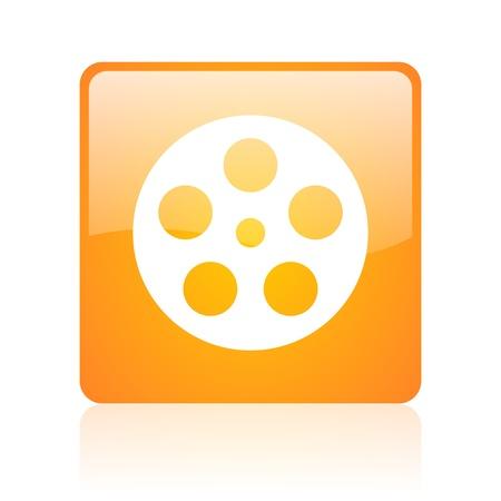 film orange square web glossy icon  photo