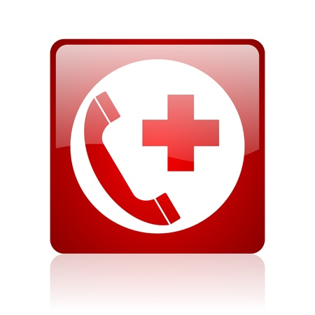 emergency call red square web glossy icon  photo