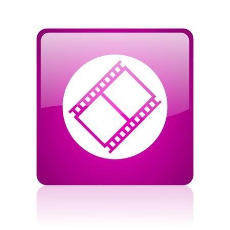 film violet square web glossy icon  photo