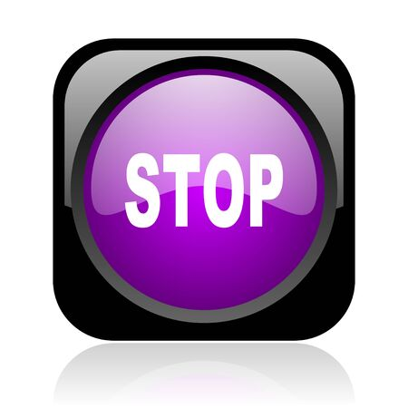 stop black and violet square web glossy icon Stock Photo - 19148822