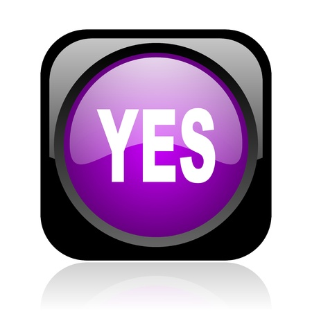 yes black and violet square web glossy icon Stock Photo - 19148815