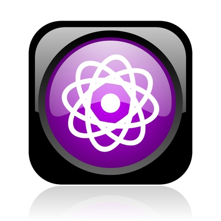 atom black and violet square web glossy icon Stock Photo - 19148862