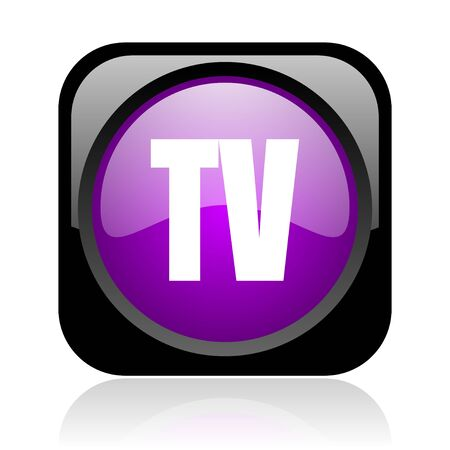 tv black and violet square web glossy icon  photo