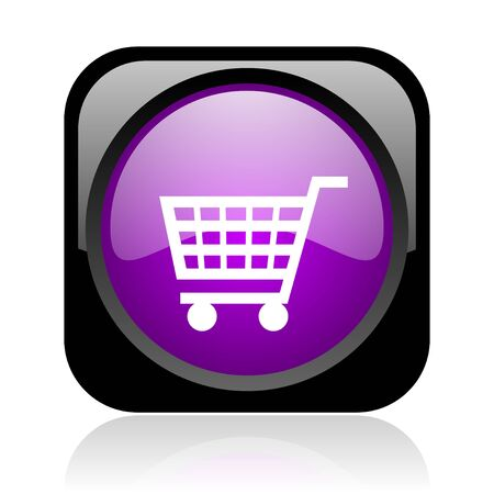 shopping cart black and violet square web glossy icon Stock Photo - 19148844