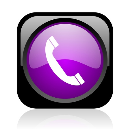 phone black and violet square web glossy icon Stock Photo - 19148823