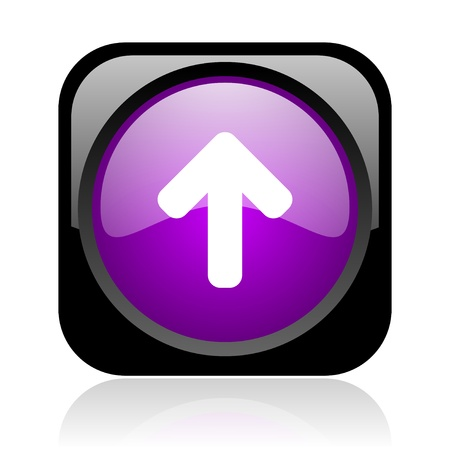 arrow up: arrow up black and violet square web glossy icon  Stock Photo
