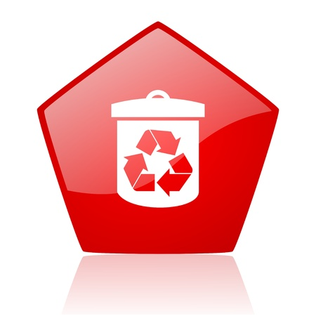 recycle red web glossy icon  photo