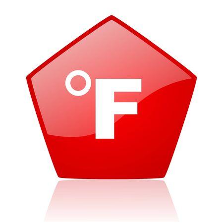 fahrenheit: fahrenheit icono rojo brillante de la Web Foto de archivo