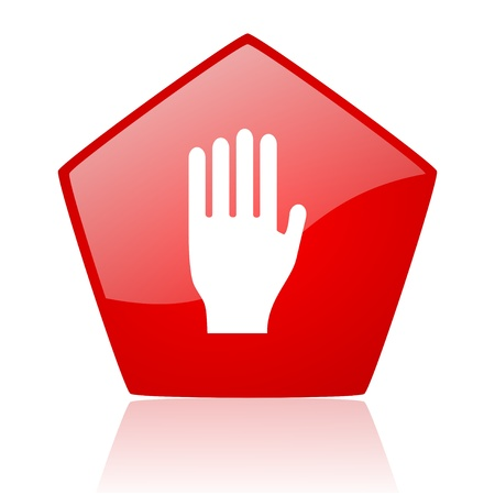 stop red web glossy icon Stock Photo - 19171880