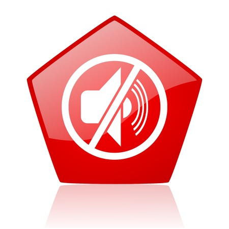 mute red web glossy icon  photo