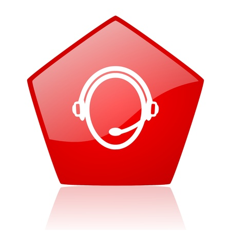 customer service red web glossy icon Stock Photo - 19172323