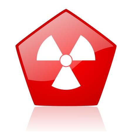 radiation red web glossy icon Stock Photo - 19172014