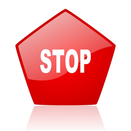 stop red web glossy icon Stock Photo - 19172057