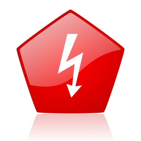 lightning red web glossy icon  photo