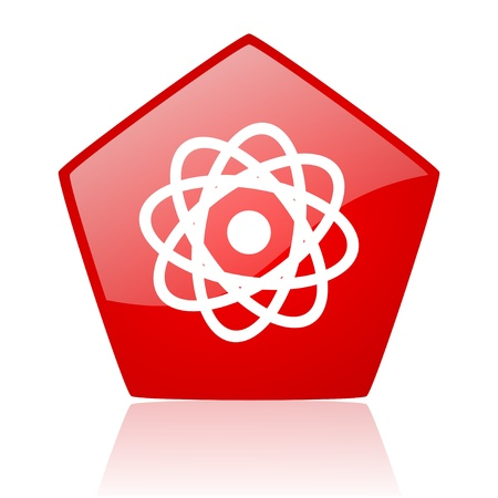 atom red web glossy icon Stock Photo - 19172386