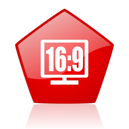 16 9 display red web glossy icon  photo