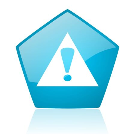 warning blue pentagon web glossy icon