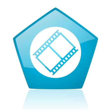 film blue pentagon web glossy icon  photo