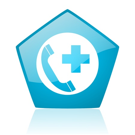 emergency call blue pentagon web glossy icon  photo