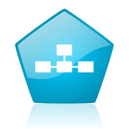 database blue pentagon web glossy icon  photo