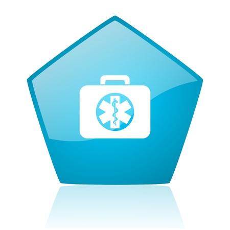 rescue kit blue pentagon web glossy icon  photo