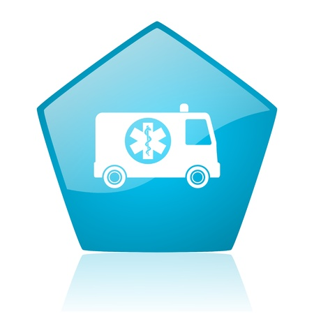 ambulance blue pentagon web glossy icon