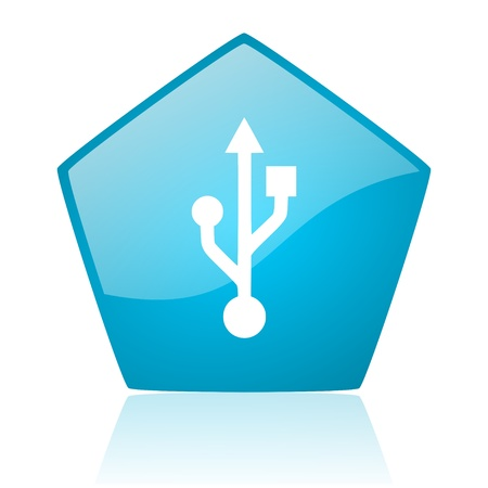 usb blue pentagon web glossy icon  photo