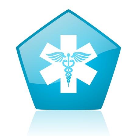 caduceus blue pentagon web glossy icon  photo