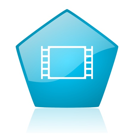 movie blue pentagon web glossy icon  photo