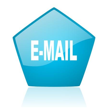 pentagon: mail blue pentagon web glossy icon  Stock Photo