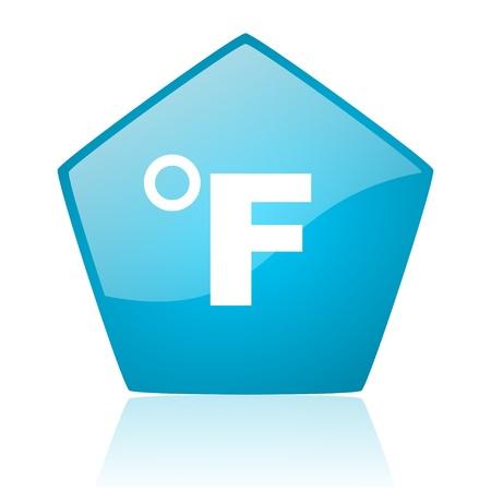 fahrenheit: fahrenheit azul pent�gono web brillante icono