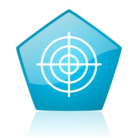 target blue pentagon web glossy icon